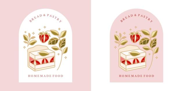 Hand getekend vintage cake, gebak, bakkerij-logo met aardbei, bladtak en frame