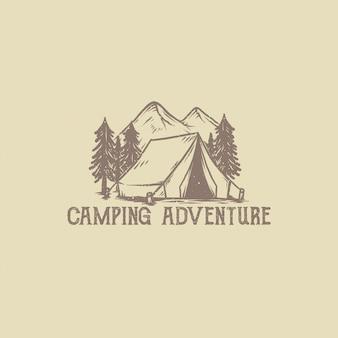Hand getekend vintage camping avontuur