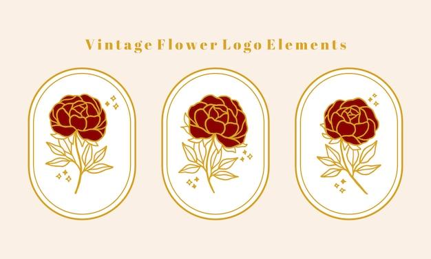 Hand getekend vintage gouden botanische peony bloem logo element collectie