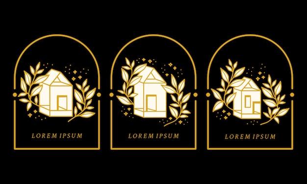 Hand getekend vintage huis en botanische bloemen logo element collectie