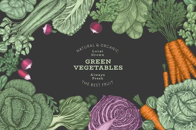 Hand getekend vintage kleur groenten frame achtergrond