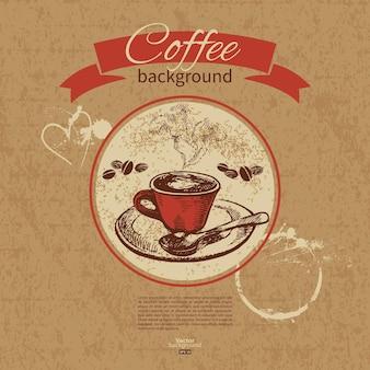 Hand getekend vintage koffie achtergrond. menu voor restaurant, café, bar, koffiehuis