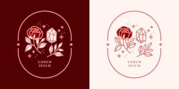 Hand getekend vintage kristal, edelstenen, blad, roze bloem logo sjabloon en vrouwelijk schoonheid merkelement
