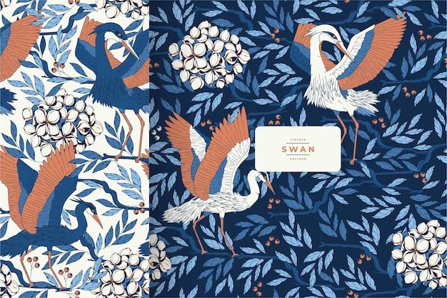 Hand getekend vintage mooie vogel patroon sjabloon