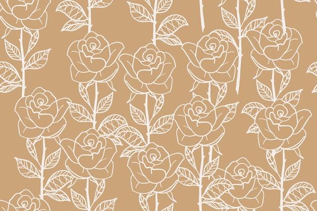 Hand getekend vintage naadloze bloemmotief rose bloemen in trendy lijn kunststijl