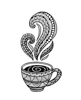 Hand getekend vintage thee beker pictogram vectorillustratie