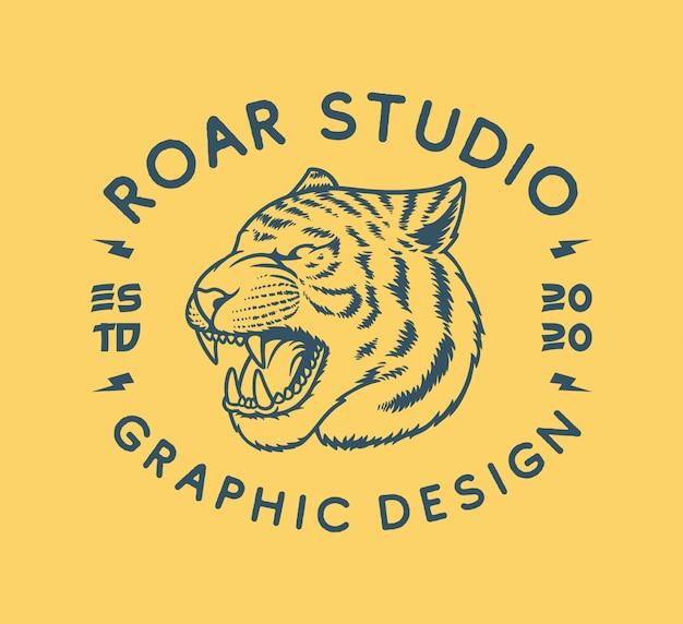 Hand getekend vintage tijger logo