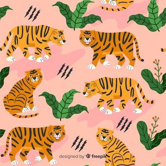 Hand getekend vintage tijger patroon