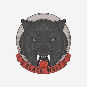Hand getekend vintage zwarte wolf
