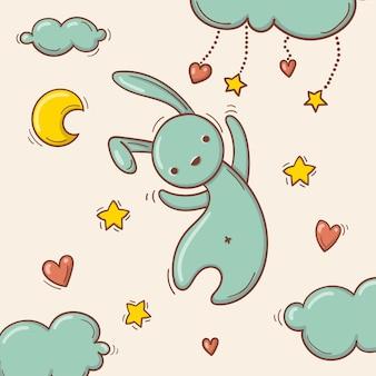 Hand getekend vliegend speelgoed konijn tussen de wolken.