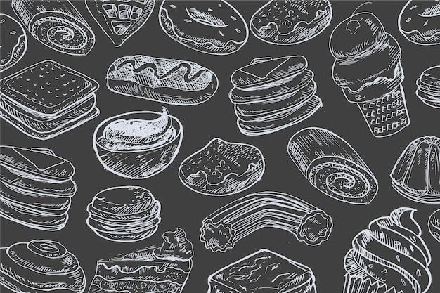 Hand getekend voedsel achtergrond