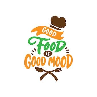 Hand getekend voedsel belettering poster voor café en restaurant