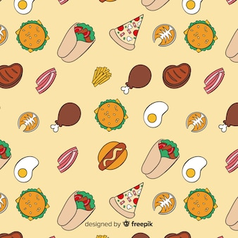 Hand getekend voedsel patroon achtergrond