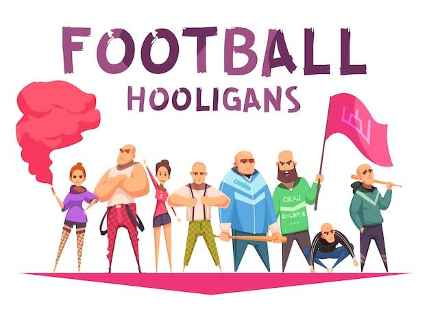 Hand getekend voetbal hooligans