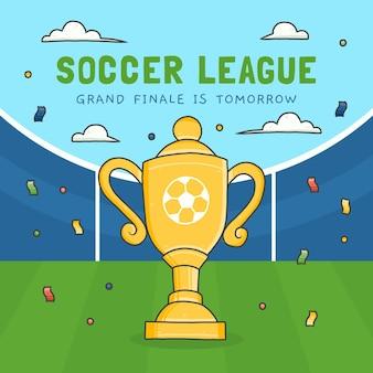 Hand getekend voetbal league finale illustratie