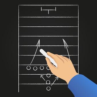 Hand getekend voetbal spelstrategie.