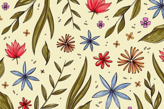 Hand getekend voorjaar achtergrond met bloemen