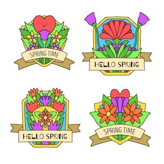 Hand getekend voorjaar badge collectie