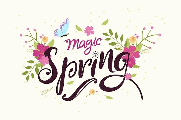 Hand getekend voorjaar behang