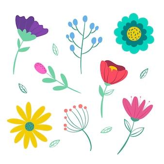 Hand getekend voorjaar bloem collectie