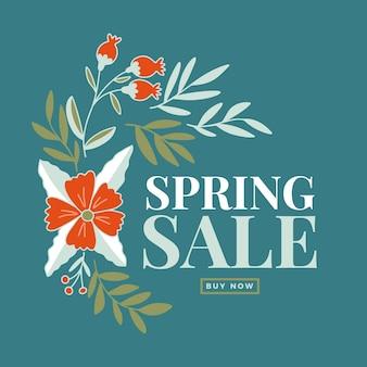 Hand getekend voorjaar grote verkoop met bloemen
