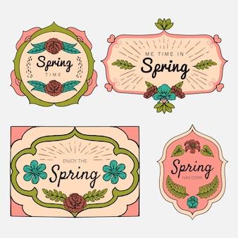 Hand getekend voorjaar label collectie