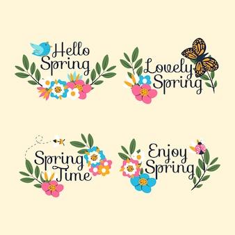 Hand getekend voorjaar labels-collectie