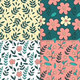 Hand getekend voorjaar patroon collectie Gratis Vector