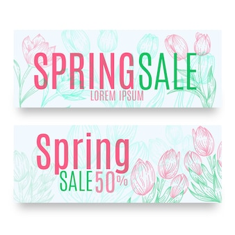 Hand getekend voorjaar verkoop banners pack