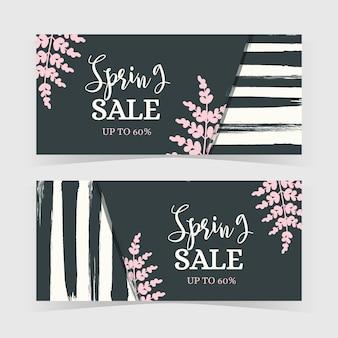 Hand getekend voorjaar verkoop banners