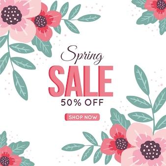 Hand getekend voorjaar verkoop met bloemen