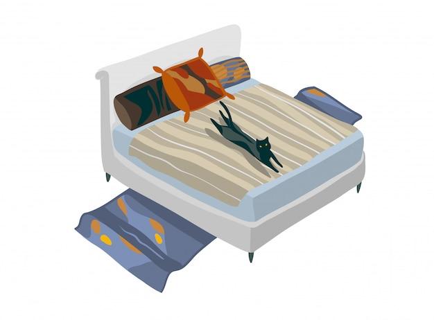 Hand getekend voorraad abstracte grafische cartoon illustratie met isometrische boheemse slaapkamer op witte achtergrond