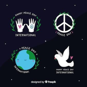 Hand getekend vrede dag symbolen collectie