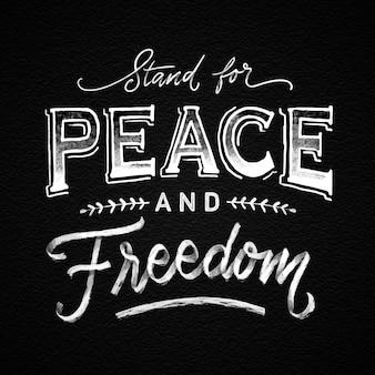 Hand getekend vrede en vrijheid belettering Gratis Vector