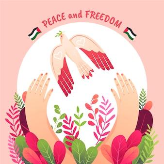 Hand getekend vrede en vrijheid illustratie