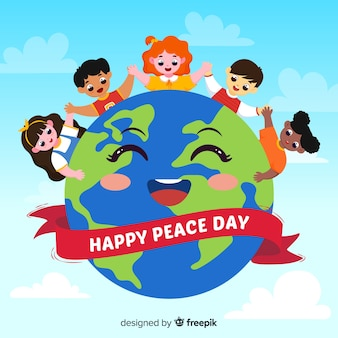 Hand getekend vredesdag achtergrond met kinderen
