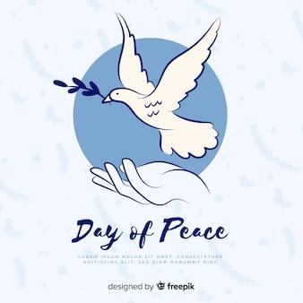 Hand getekend vredesdag duif