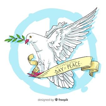 Hand getekend vredesdag met een duif