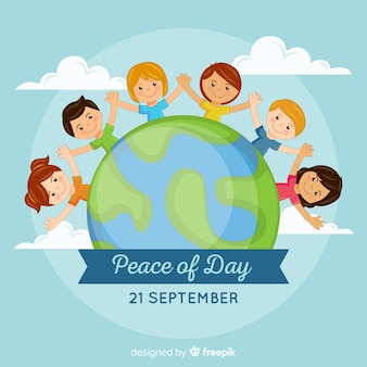 Hand getekend vredesdag met kinderen hand in hand