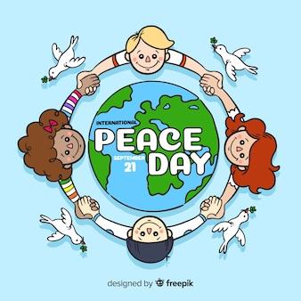 Hand getekend vredesdag met kinderen