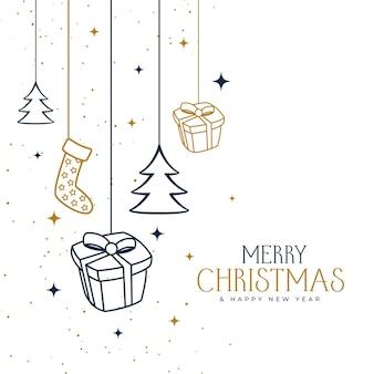 Hand getekend vrolijk kerstfeest decoratief ontwerp als achtergrond
