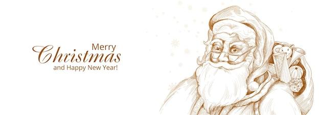 Hand getekend vrolijke kerstman schets kaart banner achtergrond