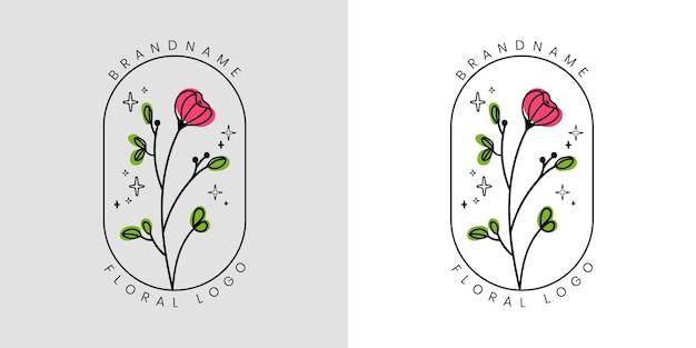 Hand getekend vrouwelijk schoonheid bloemenlogo met bloemen en bladeren