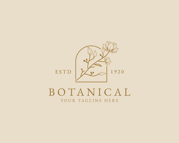 Hand getekend vrouwelijk schoonheid minimaal bloemen botanisch logo voor spa salon huid haarverzorging branding