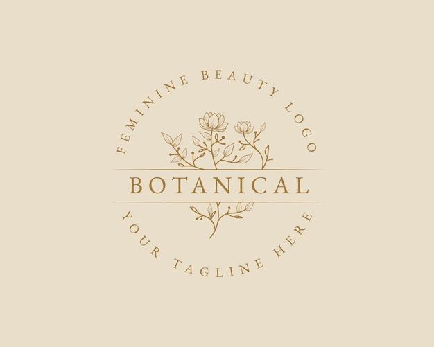 Hand getekend vrouwelijk schoonheid minimaal bloemen botanisch logo voor spa salon huid haarverzorging branding Premium Vector