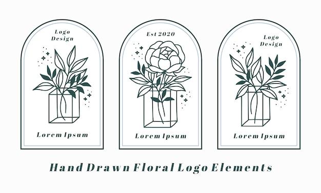 Hand getekend vrouwelijke logo-elementen met pioenroos bloem en blad tak