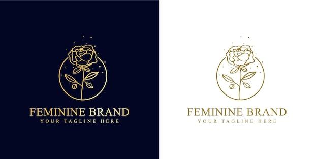 Hand getekend vrouwelijke schoonheid en bloemen botanisch logo frame voor spa salon huid haarverzorging
