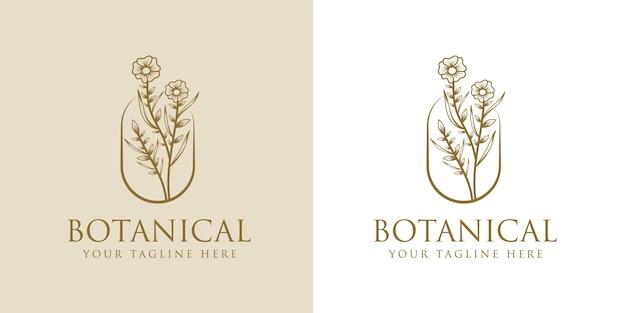 Hand getekend vrouwelijke schoonheid en bloemen botanisch logo frame voor spa salon huid haarverzorging Premium Vector
