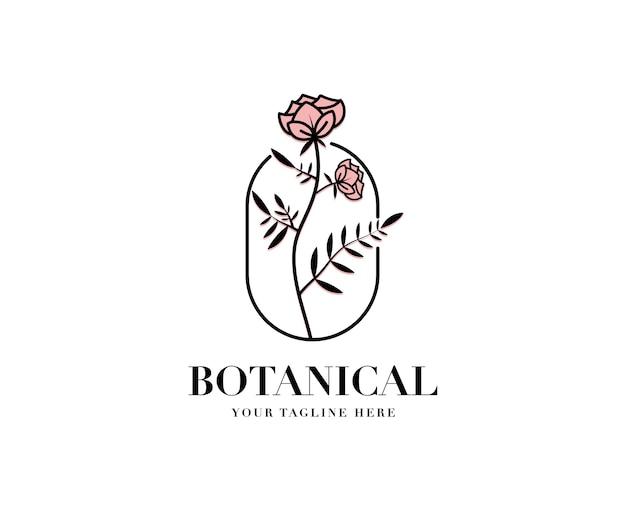 Hand getekend vrouwelijke schoonheid en bloemen botanisch logo voor huidverzorging spa salon