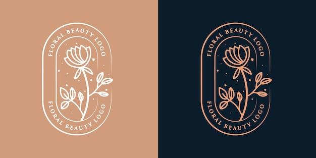 Hand getekend vrouwelijke schoonheid en bloemen botanisch logo
